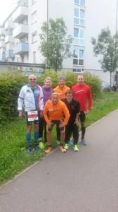 Glückliche Finisher in Heilbronn. Unser Bild zeigt (von links nach rechts): Wolfang Wild, Carola Wild, Jochen Berktold, Helmut König, Theresa Wild und Jürgen Elsässer
